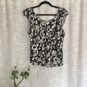 Talbots Silk Floral Print Black and White Tank